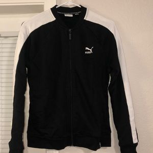 Puma zip up tracksuit black